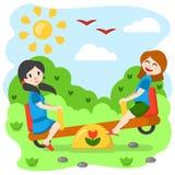 Meisjes die op een tuimelschakelaar slingeren vector illustratie