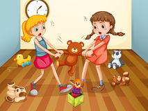 Meisjes die over teddybeer vechten Stock Foto's