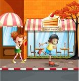 Meisjes die rollerskates op de straat spelen royalty-vrije illustratie
