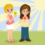 Meisjes die Roomijs eten vector illustratie