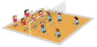 Meisjes die salvobal spelen vector illustratie