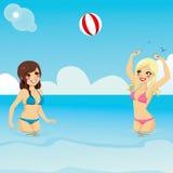 Meisjes die Strandbal spelen stock illustratie