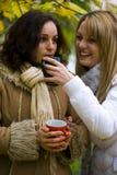 Meisjes die thee drinken royalty-vrije stock afbeeldingen