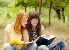 Meisjes die thuiswerk doen bij het park. Stock Afbeeldingen