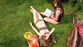 Meisjes die vanaf de Bovenkant zonnebaden stock footage