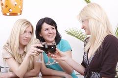 Meisjes die wijn drinken en pret hebben Stock Foto