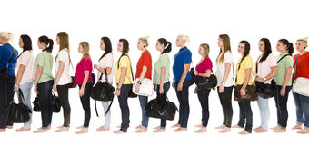 Meisjes in een lijn Stock Afbeelding