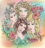 Meisjes en bloemen Royalty-vrije Stock Foto's