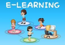 Meisjes en e-lerend pictogram vector illustratie