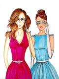 Meisjes en glazen Stock Afbeeldingen