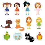 Meisjes en huisdieren op wit Stock Foto's