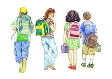 Meisjes en jongens die naar school met schooltassen gaan Royalty-vrije Stock Foto