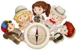 Meisjes en jongens met het kamperen toestellen royalty-vrije illustratie