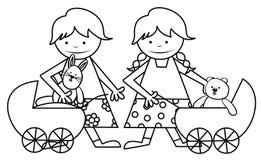 Meisjes en speelgoed - kleurend boek Stock Afbeeldingen