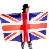 Meisjes Engelse die vlag op witte achtergrond Groot-Brittannië wordt geïsoleerd Stock Afbeelding
