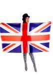 Meisjes Engelse die vlag op witte achtergrond Groot-Brittannië wordt geïsoleerd Royalty-vrije Stock Afbeeldingen