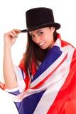 Meisjes Engelse die vlag op witte achtergrond Groot-Brittannië wordt geïsoleerd Stock Afbeeldingen