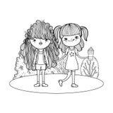 Meisjes in het landschap stock illustratie