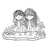 Meisjes in het landschap vector illustratie
