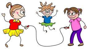 Meisjes het overslaan royalty-vrije illustratie