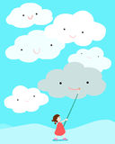 Meisjes het positief die trekt glimlach op wolk denken Stock Illustratie