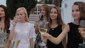 Meisjes in het restaurantterras met schitterend stock footage