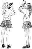 Meisjes het schieten vector illustratie