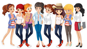 Meisjes in jeans vector illustratie
