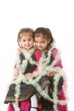 Meisjes in klatergoud royalty-vrije stock afbeeldingen