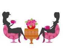 Meisjes in koffiepauze royalty-vrije illustratie