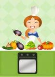 Meisjes kokende groenten royalty-vrije illustratie