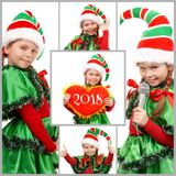 Meisjes in kostuum van Kerstmiself over wit Reeks van foto's stock foto's