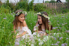 Meisjes in kronen van kamilles in gras het lachen Stock Foto