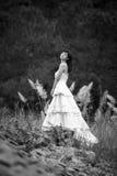 Meisjes lange bloemen Royalty-vrije Stock Foto's