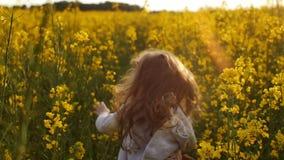Meisjes lopend kruis het gebied bij zonsondergang Langzame Motie stock videobeelden