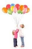 Meisjes met ballons Stock Afbeeldingen