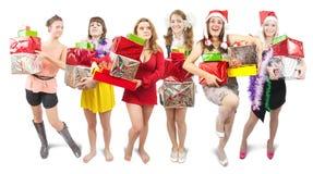 Meisjes met de giften van Kerstmis Royalty-vrije Stock Foto's