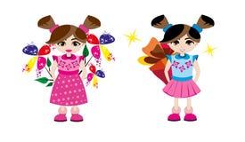 Meisjes met een verrassing - illustratie Royalty-vrije Stock Foto
