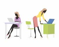 Meisjes met laptops vector illustratie