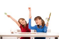 Meisjes met lollys Stock Fotografie