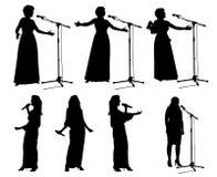 Meisjes met microphone_2 Stock Fotografie