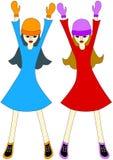 Meisjes met omhoog handen stock illustratie