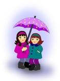 Meisjes met Paraplu royalty-vrije illustratie