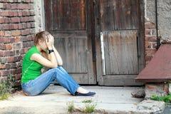 Meisjes met problemen openlucht Stock Foto
