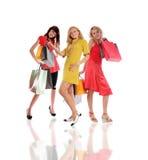 Meisjes met reeks aankopen Stock Foto's