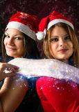 Meisjes met sjaalkerstmis Royalty-vrije Stock Afbeeldingen