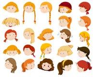 Meisjes met verschillende gelaatsuitdrukkingen vector illustratie