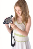 Meisjes met videocamera Royalty-vrije Stock Foto's