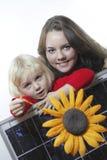 Meisjes met zonne royalty-vrije stock afbeelding
