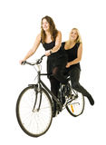Meisjes op fiets royalty-vrije stock afbeelding